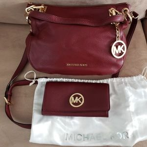 Michael Kors Handbag and Wallet Set - Claret